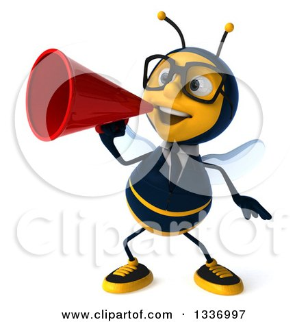 Clipart of a 3d Happy Bespectacled Business Bee Announcing with a Megaphone - Royalty Free Illustration by Julos