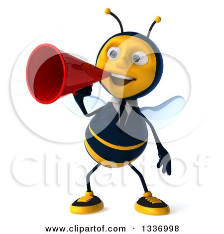 Clipart of a 3d Happy Business Bee Announcing with a Megaphone - Royalty Free Illustration by Julos