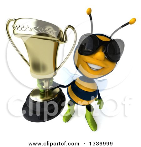 Clipart of a 3d Happy Gardener Bee Wearing Sunglasses and Holding up a Trophy - Royalty Free Illustration by Julos