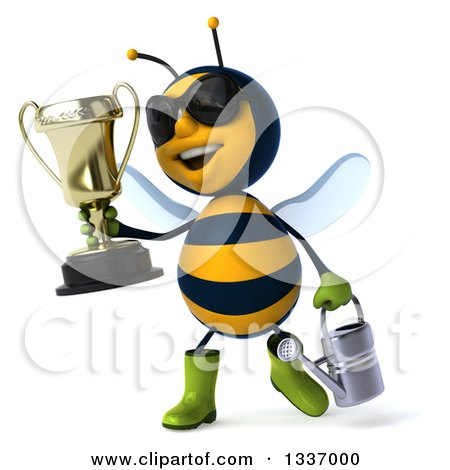 Clipart of a 3d Happy Gardener Bee Wearing Sunglasses, Holding a Watering Can and Walking with a Trophy - Royalty Free Illustration by Julos