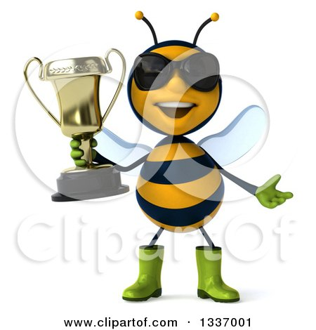 Clipart of a 3d Happy Gardener Bee Wearing Sunglasses, Shrugging and Holding a Trophy - Royalty Free Illustration by Julos