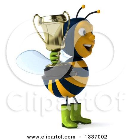 Clipart of a 3d Happy Gardener Bee Facing Right and Holding a Trophy - Royalty Free Illustration by Julos