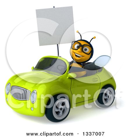 Clipart of a 3d Happy Bespectacled Male Bee Holding a Blank Sign and Driving a Green Convertible Car 2 - Royalty Free Illustration by Julos