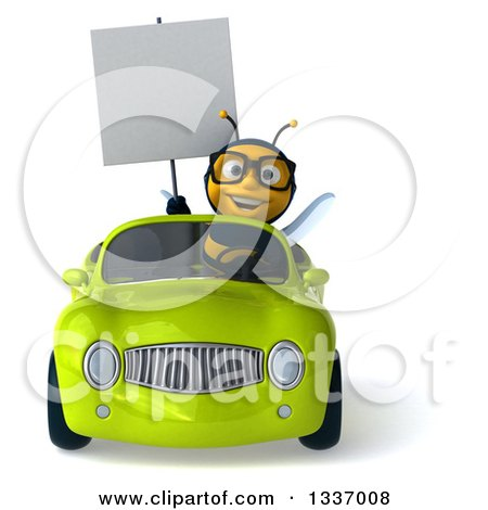Clipart of a 3d Happy Bespectacled Male Bee Holding a Blank Sign and Driving a Green Convertible Car - Royalty Free Illustration by Julos