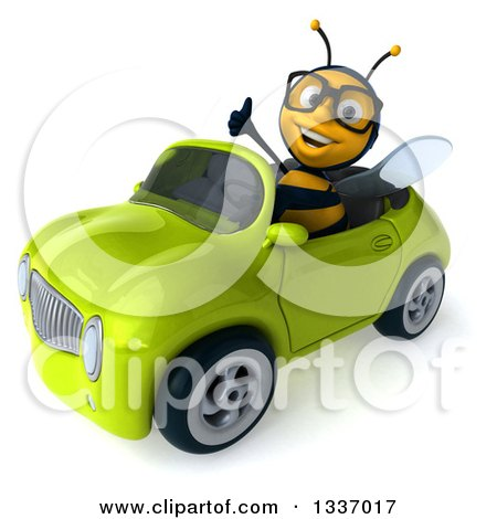 Clipart of a 3d Happy Bespectacled Male Bee Giving a Thumb up and Driving a Green Convertible Car 2 - Royalty Free Illustration by Julos