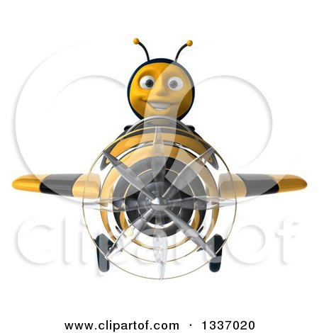 Clipart of a 3d Happy Male Bee Aviator Pilot Flying a Striped Airplane - Royalty Free Illustration by Julos