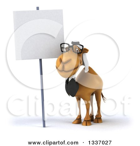 Clipart of a 3d Bespectacled Business Camel Next to a Blank Sign - Royalty Free Illustration by Julos