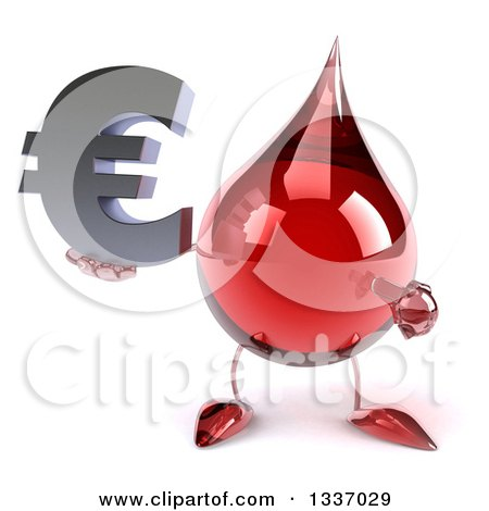 Clipart of a 3d Hot Water or Blood Drop Character Holding and Pointing to a Euro Currency Symbol - Royalty Free Illustration by Julos