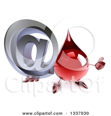 Clipart of a 3d Hot Water or Blood Drop Character Holding up a Thumb and Email Arobase at Symbol - Royalty Free Illustration by Julos