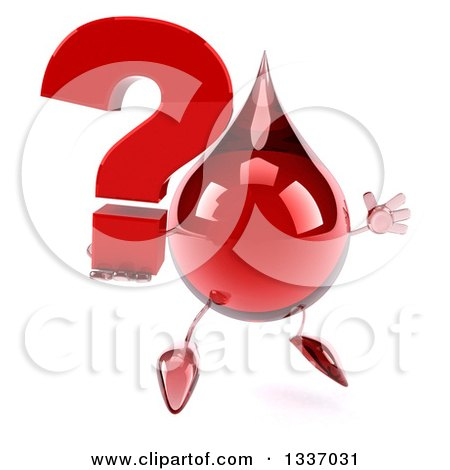 Clipart of a 3d Hot Water or Blood Drop Character Facing Slightly Right, Jumping and Holding a Question Mark - Royalty Free Illustration by Julos