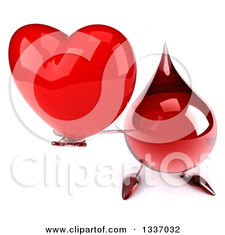 Clipart of a 3d Hot Water or Blood Drop Character Holding up a Red Love Heart - Royalty Free Illustration by Julos