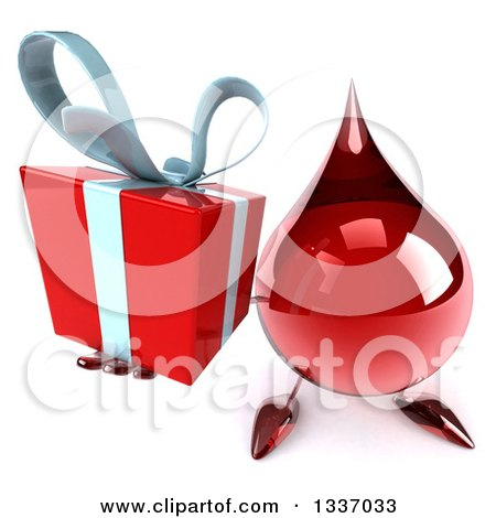 Clipart of a 3d Hot Water or Blood Drop Character Holding up a Gift - Royalty Free Illustration by Julos