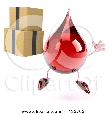Clipart of a 3d Hot Water or Blood Drop Character Jumping and Holding Boxes - Royalty Free Illustration by Julos