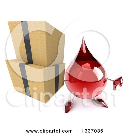 Clipart of a 3d Hot Water or Blood Drop Character Holding up a Thumb down and Boxes - Royalty Free Illustration by Julos