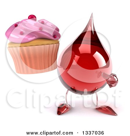 Clipart of a 3d Hot Water or Blood Drop Character Holding and Pointing to a Pink Frosted Cupcake - Royalty Free Illustration by Julos