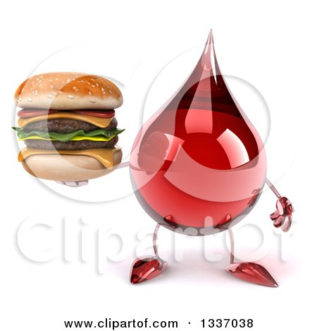 Clipart of a 3d Hot Water or Blood Drop Character Holding a Double Cheeseburger - Royalty Free Illustration by Julos