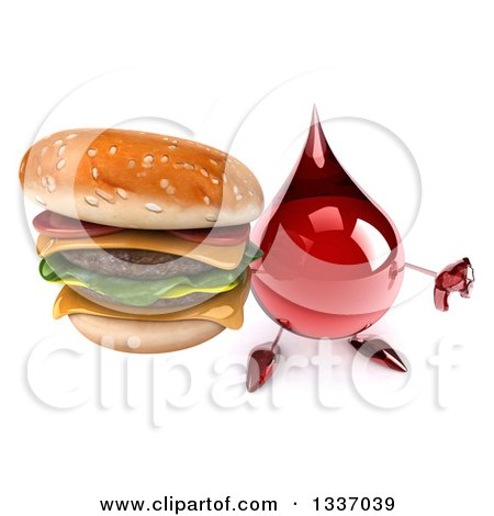 Clipart of a 3d Hot Water or Blood Drop Character Holding up a Thumb down and a Double Cheeseburger - Royalty Free Illustration by Julos