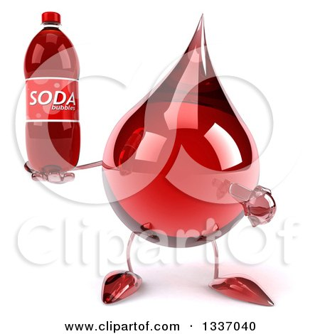 Clipart of a 3d Hot Water or Blood Drop Character Holding and Pointing to a Soda Bottle - Royalty Free Illustration by Julos