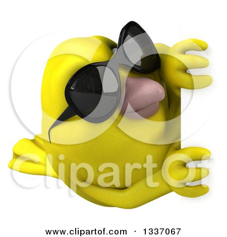 Clipart of a 3d Yellow Bird Wearing Sunglasses and Looking Around a Sign - Royalty Free Illustration by Julos
