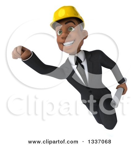Clipart of a 3d Young Black Male Architect Flying with Blueprints in Hand - Royalty Free Illustration by Julos