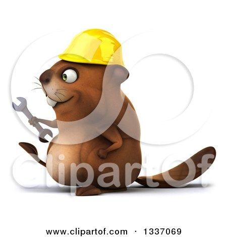 Clipart of a 3d Happy Construction Beaver Holding a Wrench and Walking to the Left - Royalty Free Illustration by Julos