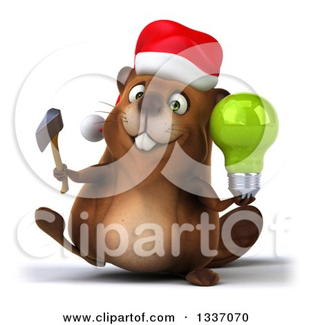 Clipart of a 3d Christmas Beaver Walking and Holding an Axe and Green Light Bulb - Royalty Free Illustration by Julos