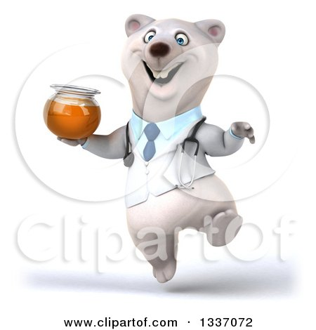 Clipart of a 3d Happy Polar Bear Doctor or Veterinarian Jumping with Honey - Royalty Free Illustration by Julos