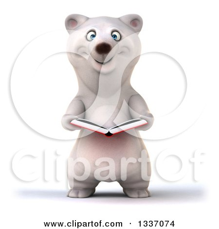 Clipart of a 3d Happy Polar Bear Holding an Open Book - Royalty Free Illustration by Julos