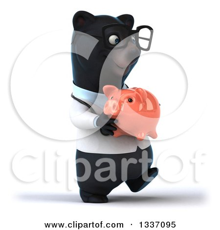 Clipart of a 3d Bespectacled Black Bear Veterinarian or Doctor Walking Slightly to the Right and Holding a Piggy Bank - Royalty Free Illustration by Julos