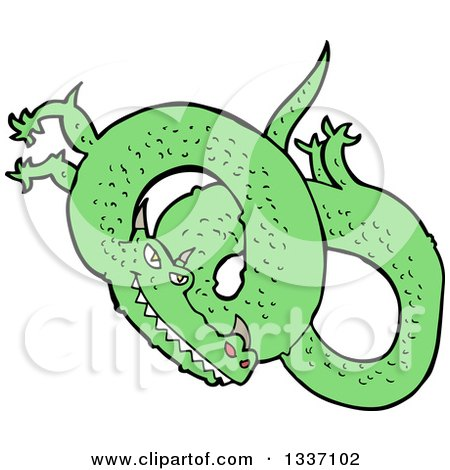 Clipart of a Cartoon Green Chinese Dragon 2 - Royalty Free Vector Illustration by lineartestpilot
