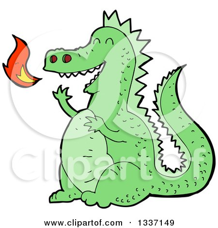 Clipart of a Cartoon Green Fire Breathing Dragon - Royalty Free Vector Illustration by lineartestpilot