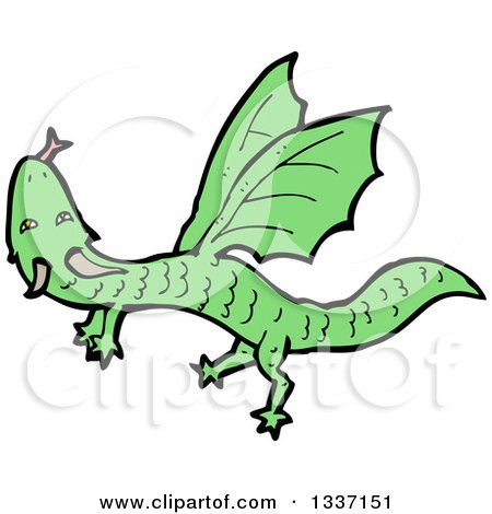 Clipart of a Cartoon Flying Green Dragon - Royalty Free Vector Illustration by lineartestpilot
