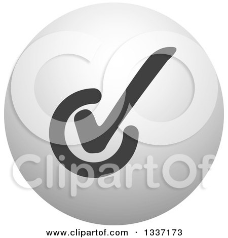 Clipart of a Grayscale Selection Tick Check Mark and Shaded Orb Round App Icon Button Design Element 9 - Royalty Free Vector Illustration by ColorMagic