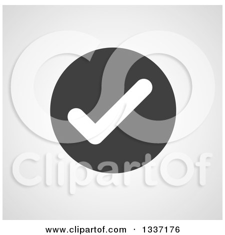 Clipart of a White Selection Tick Check Mark in a Black Circle over Gray Shading App Icon Button Design Element - Royalty Free Vector Illustration by ColorMagic