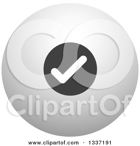 Clipart of a Grayscale Selection Tick Check Mark and Shaded Orb Round App Icon Button Design Element 14 - Royalty Free Vector Illustration by ColorMagic