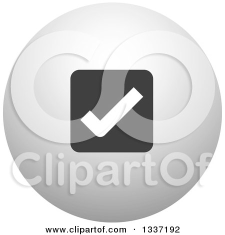 Clipart of a Grayscale Selection Tick Check Mark and Shaded Orb Round App Icon Button Design Element 13 - Royalty Free Vector Illustration by ColorMagic