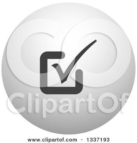 Clipart of a Grayscale Selection Tick Check Mark and Shaded Orb Round App Icon Button Design Element 12 - Royalty Free Vector Illustration by ColorMagic
