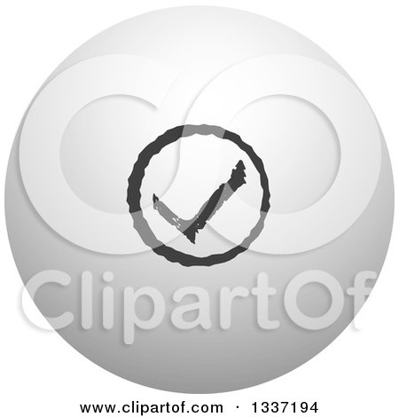 Clipart of a Grayscale Selection Tick Check Mark and Shaded Orb Round App Icon Button Design Element 11 - Royalty Free Vector Illustration by ColorMagic