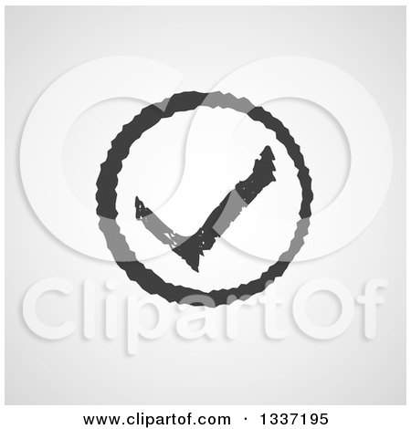 Clipart of a Distressed Grayscale Selection Tick Check Mark and Shaded Background App Icon Button Design Element 3 - Royalty Free Vector Illustration by ColorMagic