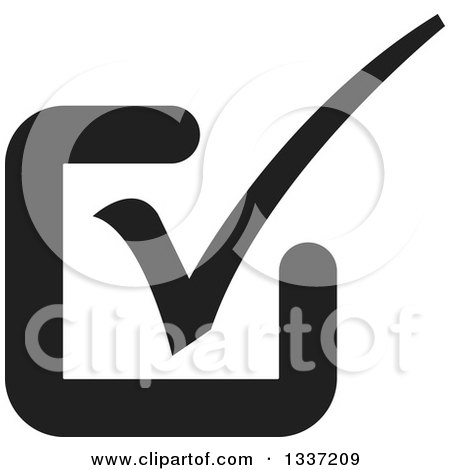 Clipart of a Black Selection Tick Check Mark App Icon Button Design Element 9 - Royalty Free Vector Illustration by ColorMagic