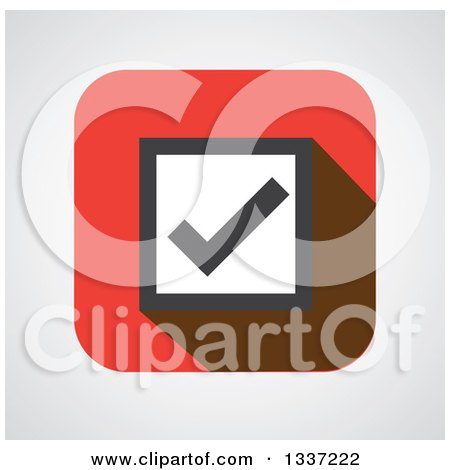 Clipart of a Flat Design Selection Tick Check Mark over Shading App Icon Button Design Element 2 - Royalty Free Vector Illustration by ColorMagic