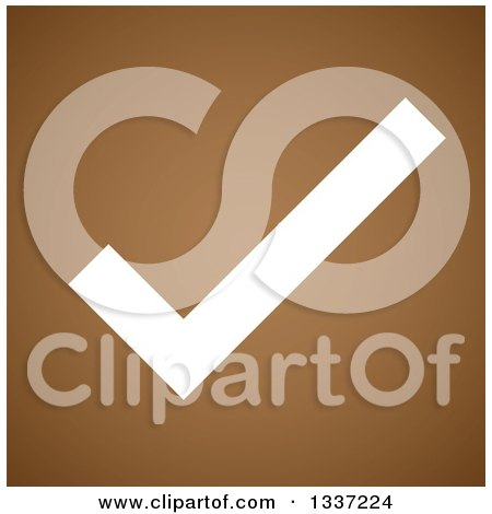 Clipart of a White Selection Tick Check Mark over Brown App Icon Button Design Element - Royalty Free Vector Illustration by ColorMagic