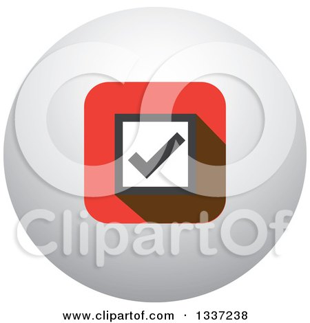 Clipart of a Selection Tick Check Mark and Shaded Orb Round App Icon Button Design Element 2 - Royalty Free Vector Illustration by ColorMagic