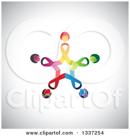 Clipart of a Star Made of Colorful Cancer Awareness Ribbon Women over Shading - Royalty Free Vector Illustration by ColorMagic