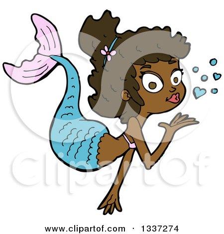 Cartoon Black Mermaid Blowing a Kiss Posters, Art Prints