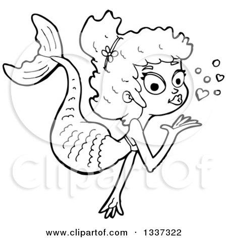 Cartoon Black and White Mermaid Blowing a Kiss Posters, Art Prints