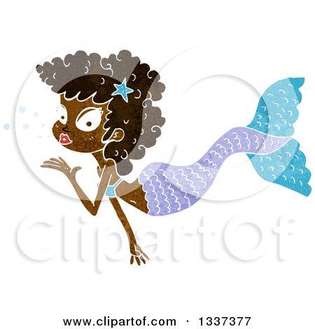 Textured Black Mermaid Blowing a Kiss 2 Posters, Art Prints