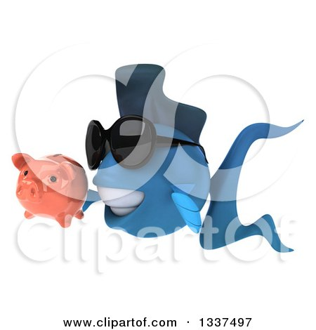 Clipart of a 3d Blue Fish Wearing Sunglasses and Holding a Piggy Bank and Facing Left - Royalty Free Illustration by Julos