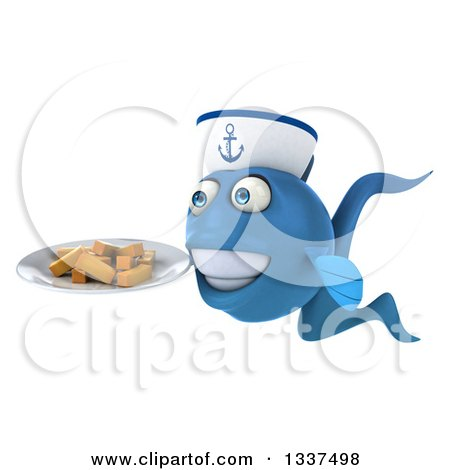 Clipart of a 3d Happy Blue Sailor Fish Facing Slightly Left and Holding a Plate of French Fries - Royalty Free Illustration by Julos