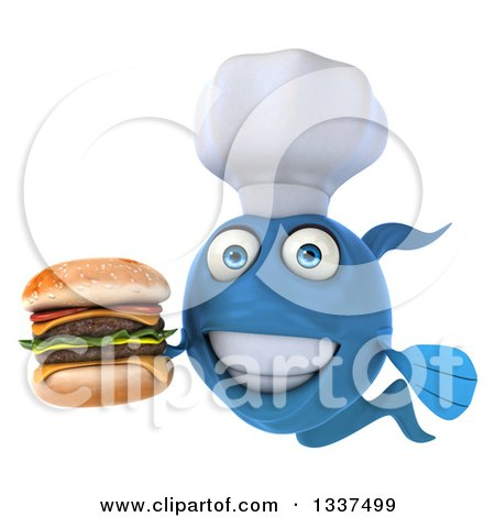 Clipart of a 3d Blue Fish Chef Holding a Double Cheeseburger - Royalty Free Illustration by Julos